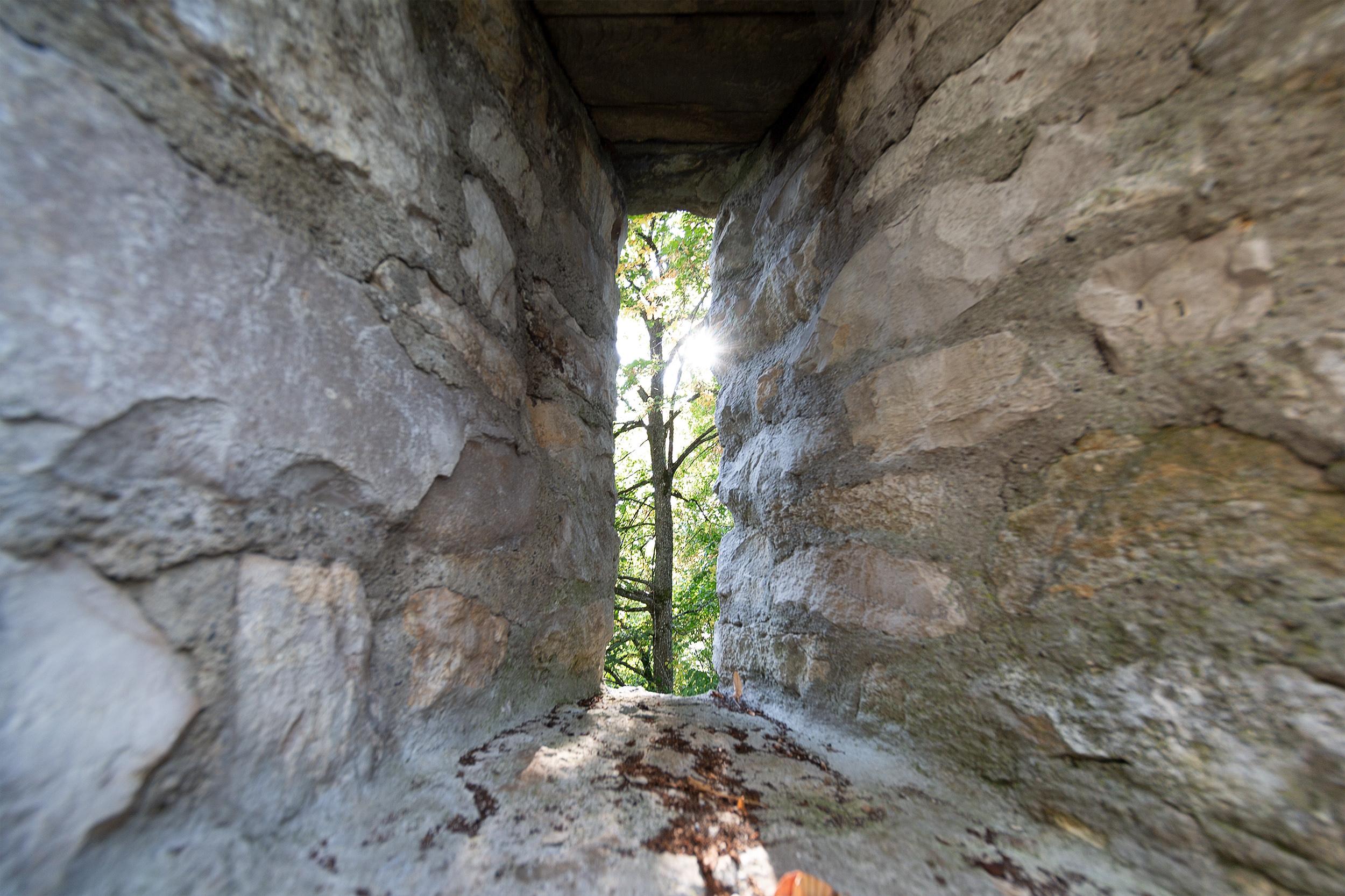 Blick durch eine Schießscharte der Ruine Melchingen auf einen Baum im Hintergrund.